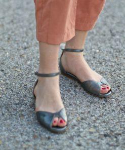 Sandalia plana de mujer modelo Alizée color plata de Bohemian Shoes