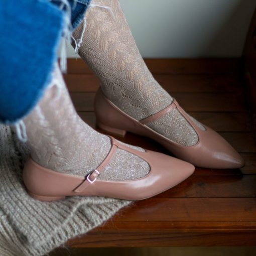 Mary Janes T-bar COSETTE - Nude de Bohemian Shoes
