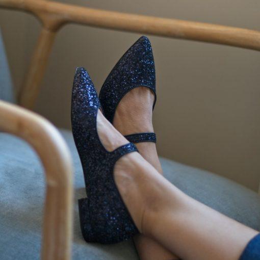 Mary Janes AUDREY - Edición Especial Night Blue Glitter de Bohemian shoes