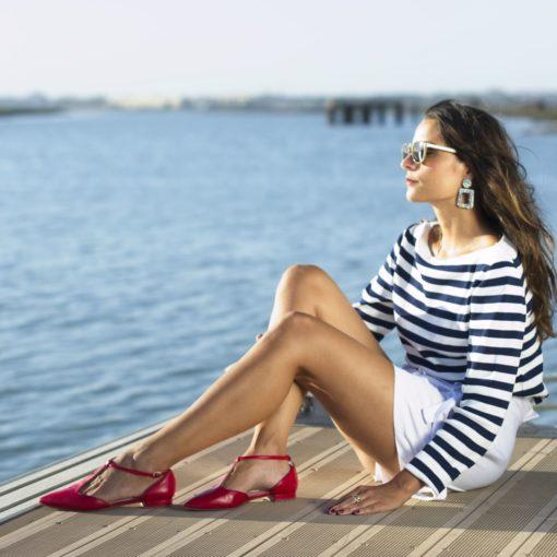Merceditas T-bar Juliette - Rojo Bohemian de Bohemain Shoes