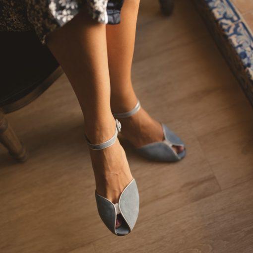 Sandalias de tacón CLAIRE - Azul empolvado en ante
