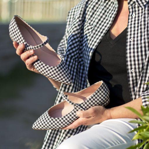 Mary Janes AUDREY - Vichy Noir de Bohemian Shoes