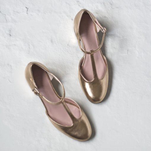 Merceditas de tacón ARIANNE - Oro de Bohemian Shoes