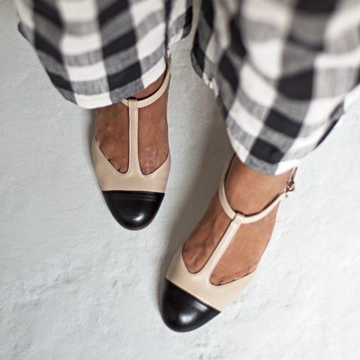 Merceditas ARIANNE - Bicolor nude / negro de Bohemian Shoes