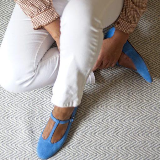 Merceditas ODETTE - Ante Azzurro de Bohemian Shoes