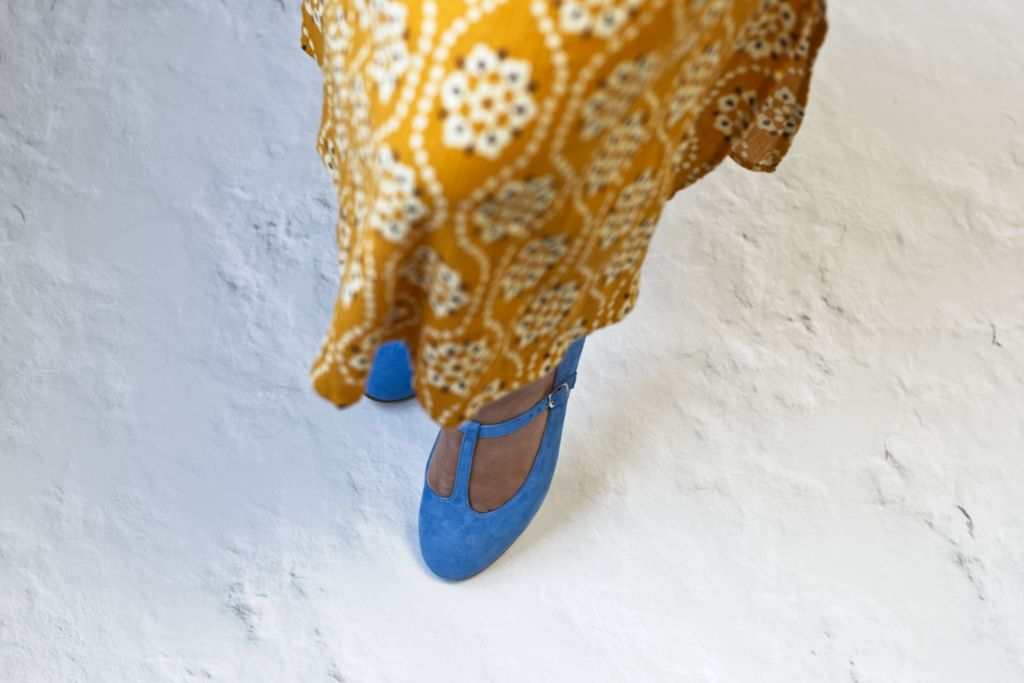 Mary Janes Odette ante Azzurro - Bohemian Shoes