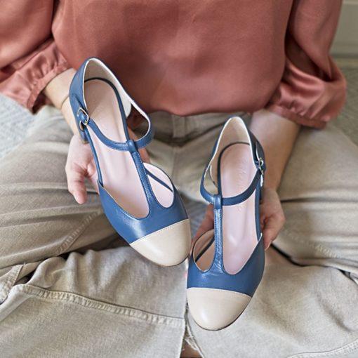 Zapatos de mujer Merceditas ARIANNE - Bicolor azul bohemian / nude de Bohemian Shoes