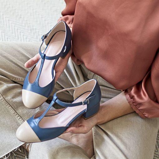 ARIANNE - Bicolor azul bohemian / nude