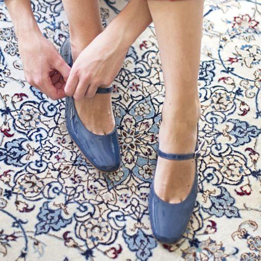 Zapatos de mujer Merceditas AMÉLIE - Azul Bohemian