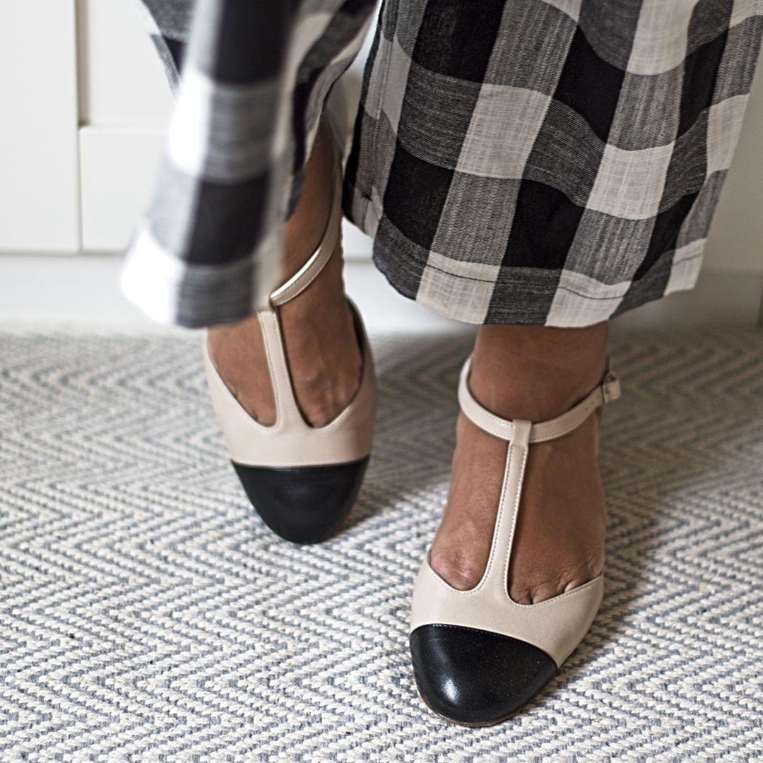 Merceditas ARIANNE – Bicolor nude / negro de Bohemian Shoes