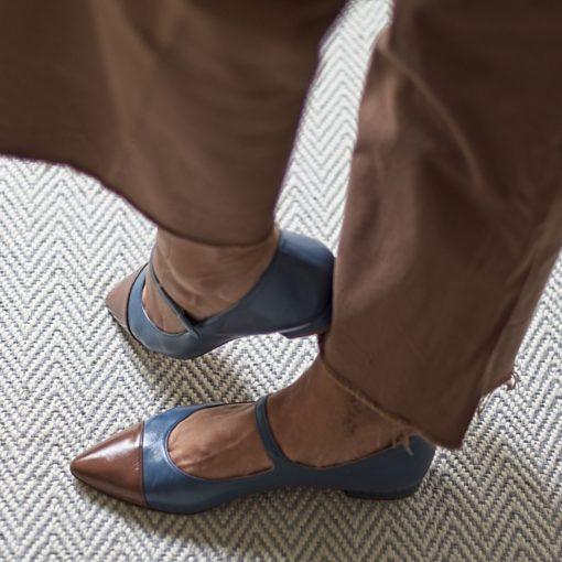 Zapatos MARGOT - Bicolor azul Bohemian / Chocolate de Bohemian Shoes